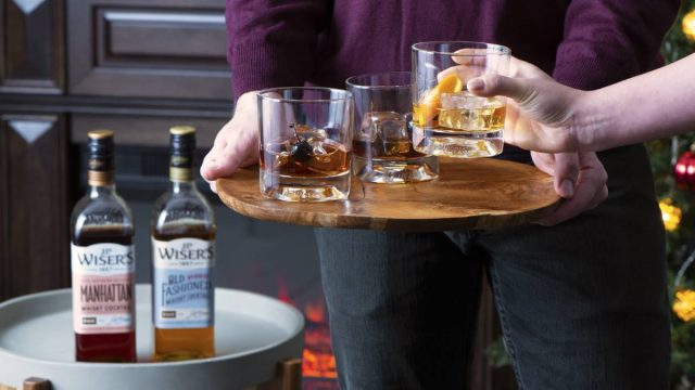 whiskey coacktails on a tray